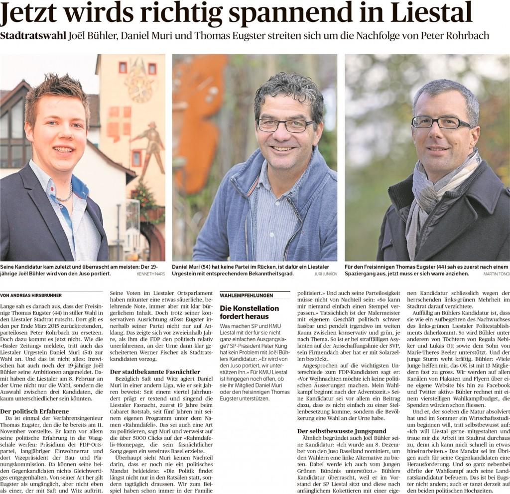 Joël Bühler in der BZ Basel, 20.12.14