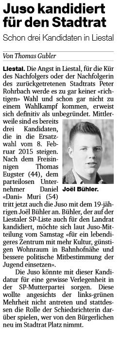 Joël Bühler in der BaZ, 22.12.14
